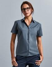 Ladies` Short Sleeve Classic Polycotton Poplin Shirt